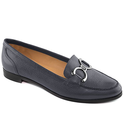 Driver Club USA Women's Genuine Leather Made in Brazil Austin Fashion Comfortable Navy Grainy Buckle Loafer 8