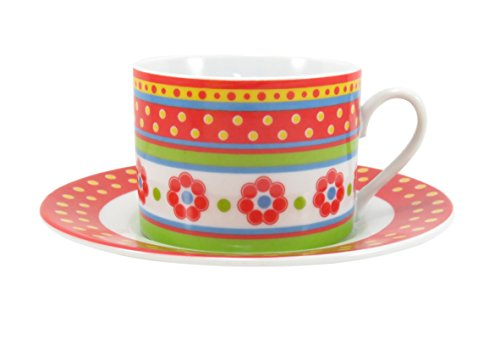 Coffee Tea Cup with Saucer Flower Polka Dot Red Yellow Green (2 Piece)