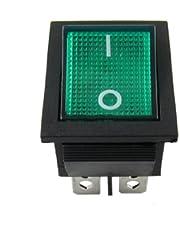 Interruptor basculante de 4 pines DPST, ON/OFF, de 15 A, 30 A, 250 V CA (28 x 21 mm)