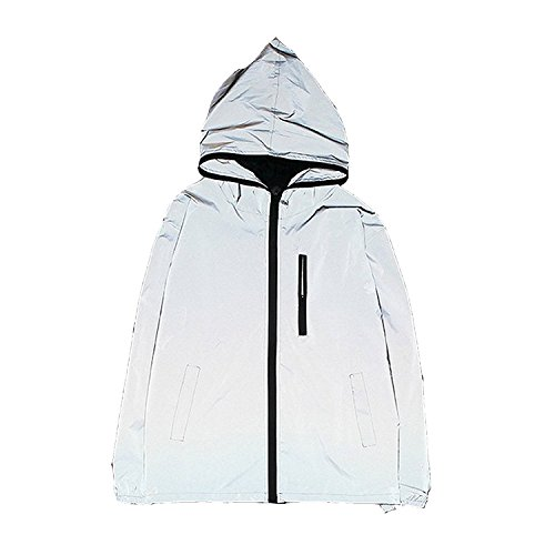Edgogvl Men's Outwear 3M Reflective Zipper Hooded Windbreaker Lightweight Running Jacket,Grey,US XL (Tag XXXL) by Edgogvl
