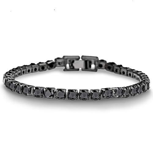 AUBREY LEE Round Black Cubic Zirconia Tennis Bracelet for Women in Black Rhodium Plated Brass (Black)