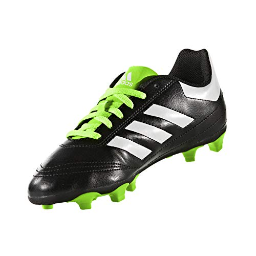 adidas Performance Kids' Goletto VI J Firm Ground Soccer Cleats, Black/White/Sgreen, 11.5 Medium US Little Kid