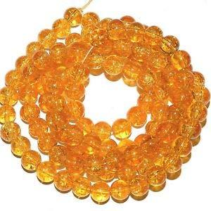 - Steven_store G3997 Light Orange 8mm Round Crackle Glass Beads 30