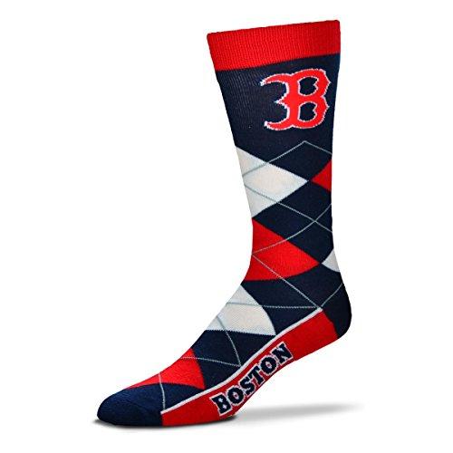 Boston Red Sox Argyle Crew Dress Socks Size Large 10-13