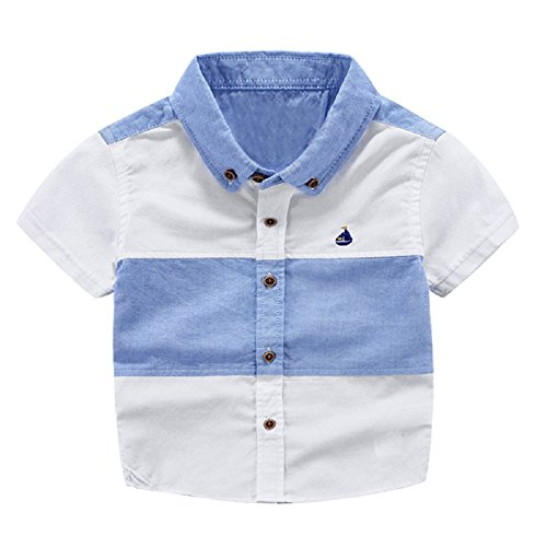 Boys Polo Shirts Baby Boy Clothes Children T-shirts Kids Clothing plaid short sleeve Summer 2 color for 2-8 years (5-6 years, Blue) (Fancy Kids Clothing)