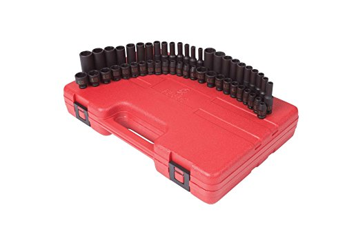 Sunex 1848 1/4-inch Drive SAE and Metric Impact Socket Set, Inch/Metric, Standard/Deep, 6-Point, Cr-Mo, 3/16-inch - 9/16-inch, 4mm - 15mm, 48-Piece