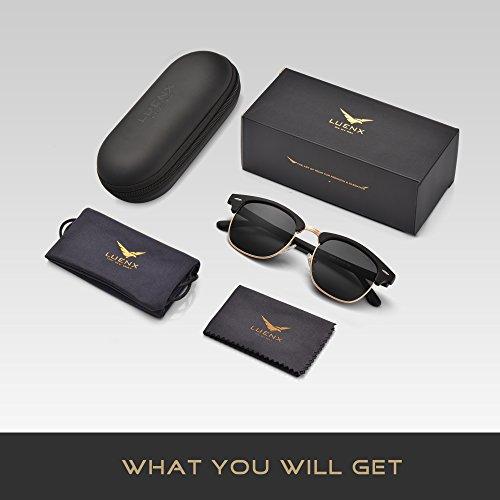 LUENX Men Women Clubmaster Polarized Sunglasses:UV 400 Protection 51MM with Case (23 Black(Matte Frame)/Non-Mirror, 51) by LUENX (Image #5)