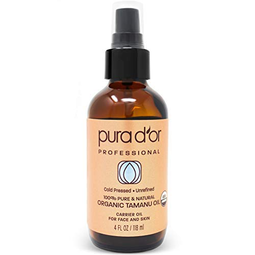 PURA D'OR Tamanu Oil (4oz / 118mL) USDA Organic Certified 100% Pure Natural Hexane Free Premium Grade Moisturizer - Helps Reduce Appearance of Scars from Psoriasis, Eczema & Acne (Packaging may vary)