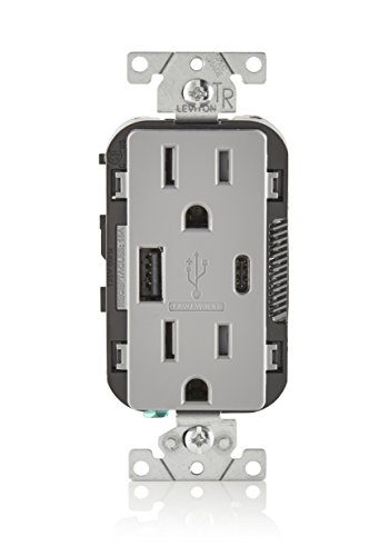Leviton T5633-GY 15A 125V Decora Tamper Resistant Type A and Type C USB Charger Duplex Receptacle Outlet, Gray