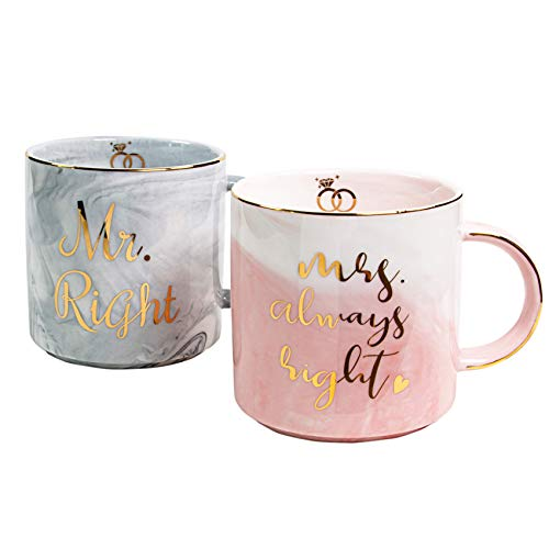 Vilight Mr Right Mrs Always Right Couples Mugs Set of 2 - Funny Wedding Engagement and Bridal Shower Gifts - Ceramic Marble Coffee Cups 11.5 oz