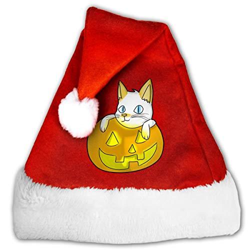 XKAWPC Cat in Halloween Pumpkin Santa Hat for