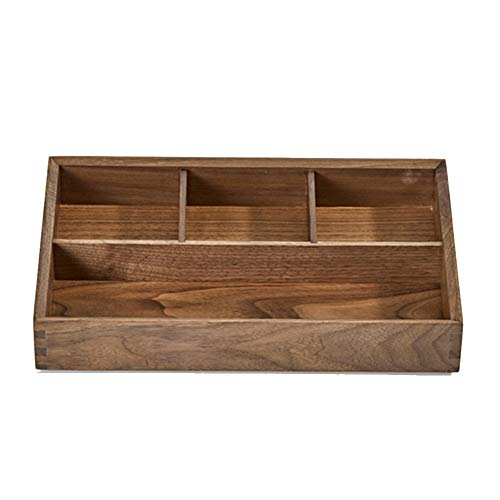 Storage Boxes Desk Organizer Desktop Storage Box Wooden Partition Storage Miscellaneous Goods Stationery Hand Polished No Burr Desktop Storage Tingting (Color : Walnut) ()