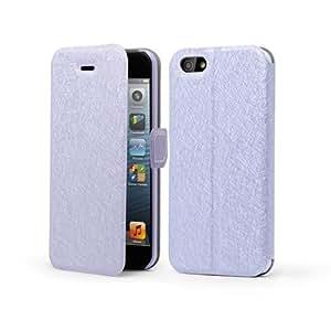 Electro-Weideworld Púrpura PU Color Funda de Cuero para iPhone 5 / 5S, Flip Piel Silicona Carcasa, Imán de cierre