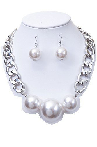 CN0445 - WOMEN'S FASHIONABLE CHAIN NECKLACE WITH BIG PEARLS AND EARRINGS SET - Designed In USA (SILVER WHITE) by HAELIA
