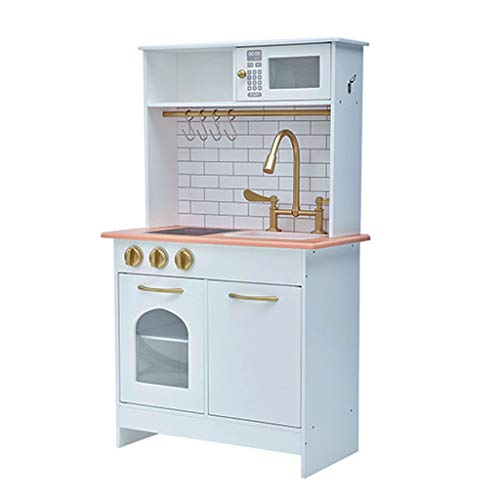 Kitchen Toys Kitchen Playsets Children's Wooden Kitchen Playsets Mini Cooking Set Girl Role Playing Birthday Gifts (Color : White, Size : 55.929.294.6cm)