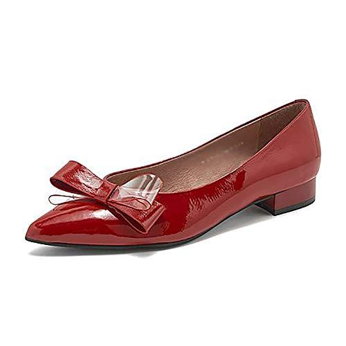 Plates Yxx Pour Party Red De Wedding La Vache Taille couleur Bow Chaussures 2cm 37 Appointés Haut Red Peau Les amp; Slip Sur Femmes Toe Femme Chaussures XP8BxrwX