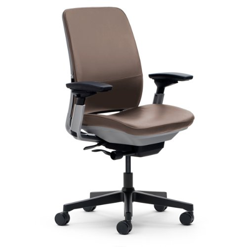 Steelcase Amia Chair Black Frame and Base - Mahogany Leather Base Black Leather Mahogany Frame
