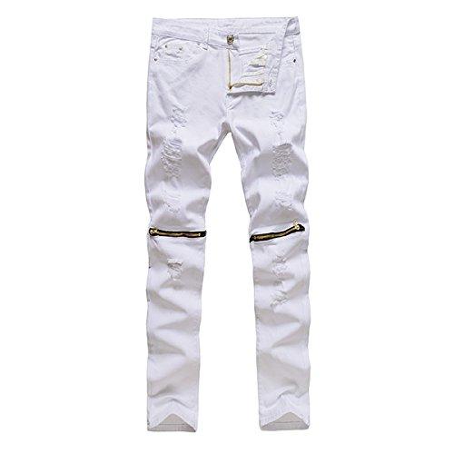 Alamor Herren Punk Stil Ripped Jeans Skinny Bleistift Hosen Hose Knie Hose 4 Farben-Weiß 1-34