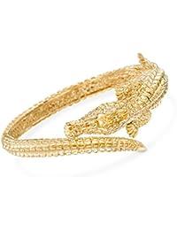 Certified Italian 18kt Yellow Gold Alligator Bangle Bracelet