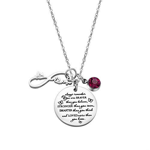 Fullrainbow You are Braver Than You Believe Stainless Steel October Birthstone Necklace Gift for Girls (Boy Girl Best Friend Jewelry)