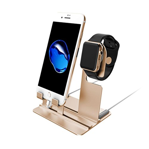 GBSELL Aluminum Charging Dock Station Charger Holder Stand For iPhone Apple Watch (Gold)