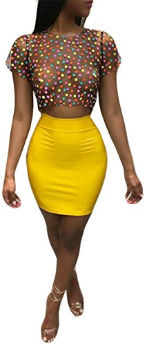 Women's 2 Pieces Mesh See-Through Colorful Dot Tops Bodycon Skirts Sexy Party Cocktail Dress Outfit ()
