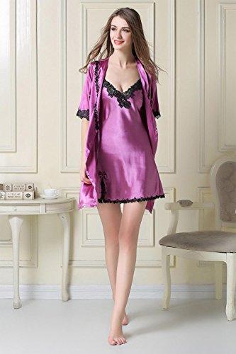 scollo vesti signore set a donna di camicie con pezzi sexy da a notte da vestito seta notte da camicia due di notte notte notte da pigiami Pigiami purple deep V da Camicie da nYwaqESEZ