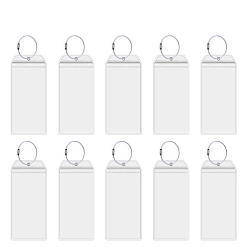 Cruise Tags Holders for Luggage E-Tags Waterproof With Resealable Zipper & Steel Loops (10Packs)