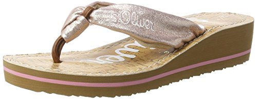 s.Oliver 27117, Chanclas para Mujer Rosa (ROSE/GOLD 593)