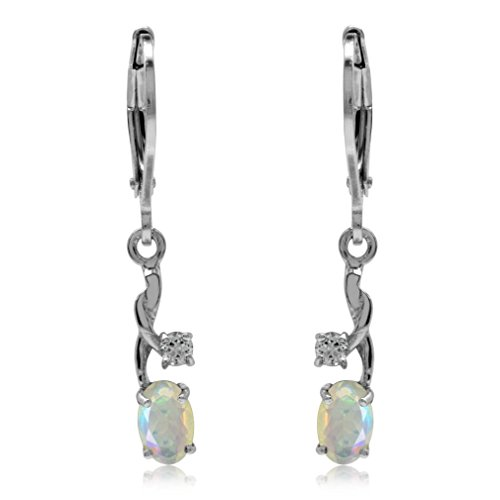 Genuine Opal & White Topaz Gold Plated 925 Sterling Silver Leverback Dangle Earrings ()