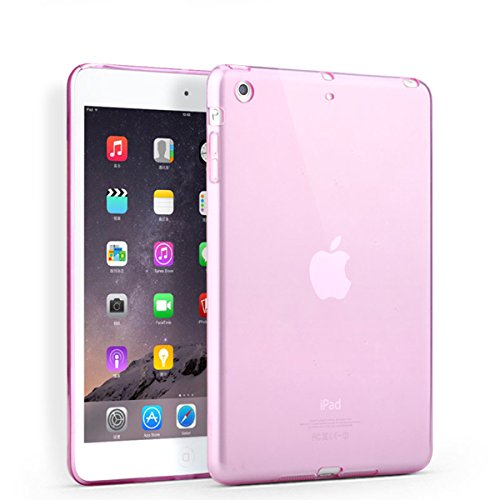 (iPad Mini 1/2/3 Case, Cavor Ultra-Thin Silicone Back Cover Clear Plain Soft TPU Gel Rubber Skin Case Waterproof Protector Shell for Apple iPad Mini 1/2/3 (Pink))