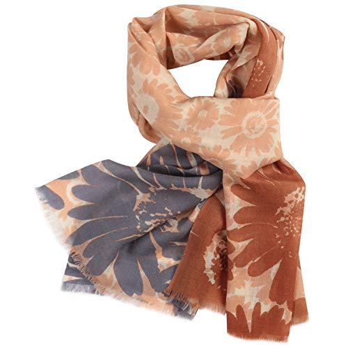 (Fashion Blanket Wool Scarf, WAMSOFT Blossom Soft Heavy Warm Two Tone Cashmere Feel Wool Shawl Wrap Spring Scarf for Women (Sun Flower# Camel&Blue))