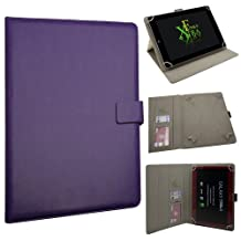 """Xtra-Funky Exclusive Large Luxury Universal Pu Leather Folio Case Cover Fits Most 7.9""""- 11"""" Devices Such as iPad 2/3/4 & Air, Samsung Tab 3 10.1, Sony, Nook, Kobo, Asus, Acer, Archos, Bush, HP, Lenova and much more - PURPLE"""