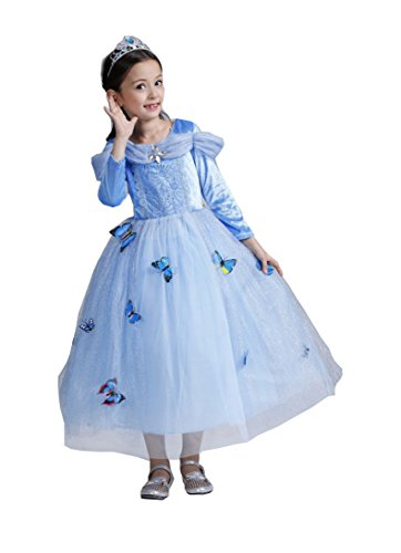 Girls Princess Cinderella Dress Butterfly Party Costumes Halloween Party Fancy Dress (5T(120cm)) Bargain Sale Cheap Inexpensive Discount Wholesale Unique Best Hot