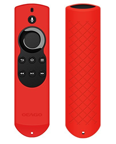 OEAGO Silicone [Anti Slip] Shock Proof Cover Case for All-New Fire TV with 4K Alexa Voice Remote (2017 Edition) (2nd Gen) / Fire TV Stick Alexa Voice Remote (Red)