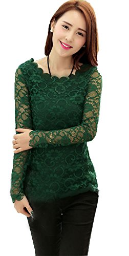 Long Sleeve Lace Floral Tops Shirt Blouse ()