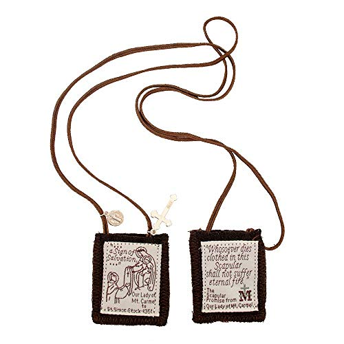 Venerare Catholic Holy Figure Saint Scapular | 100% Wool | Comes with Enrollment Papers (Traditional Brown) ()