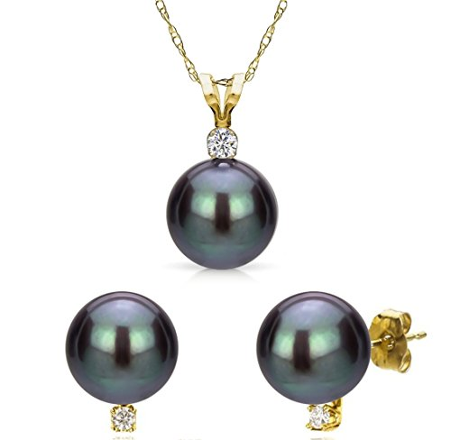 Freshwater Cultured Black Pearl Necklace Pendant 14K Yellow Gold Stud Earring Wedding Set 6-6.5mm 18 inch by La Regis Jewelry
