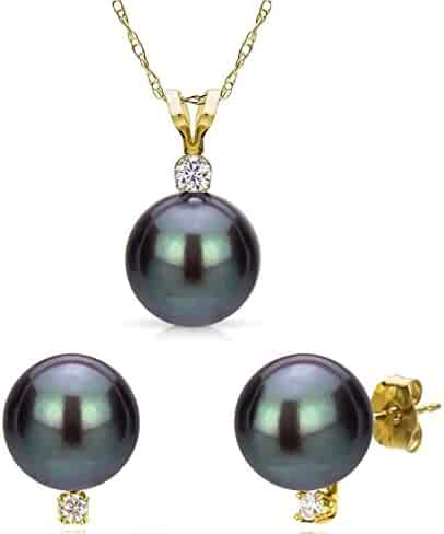3dbd02e11 Black Freshwater Cultured Pearl Pendant Necklace 14K Gold Stud Earrings  Jewelry Women 18 inch