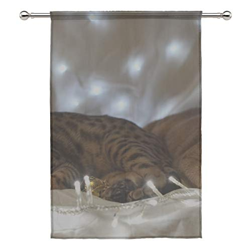 Your Home Sheer Curtain Drape Single Panel Kittens Garland Fabric Lay Door Window Gauze Curtains for Living Room Bedroom Office(55x78inch