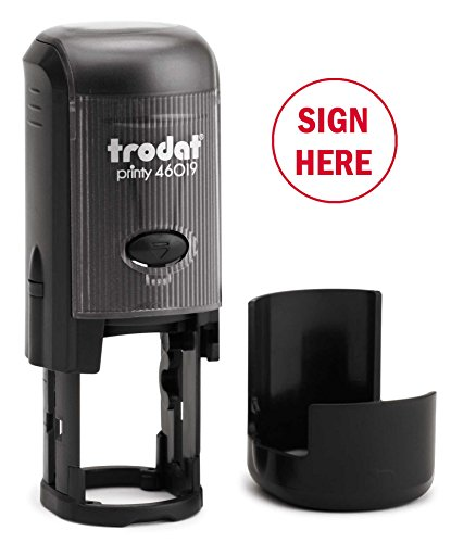 Sign HERE Round Self-Inking Stock Rubber Stamp (3/4