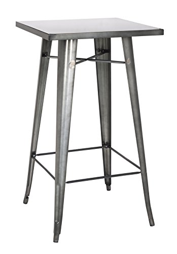 Milan Pub-Gun Isadora Steel Bar Table, Metal