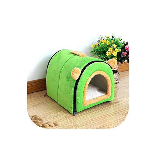 Little-Hope Dog Beds Dog House Nest with Mat Foldable Pet Dog Bed Cat Bed Sofa Kennel for Small Medium Dogs Travel Pet Bed Bag,Green,M 43x33x34cm ()