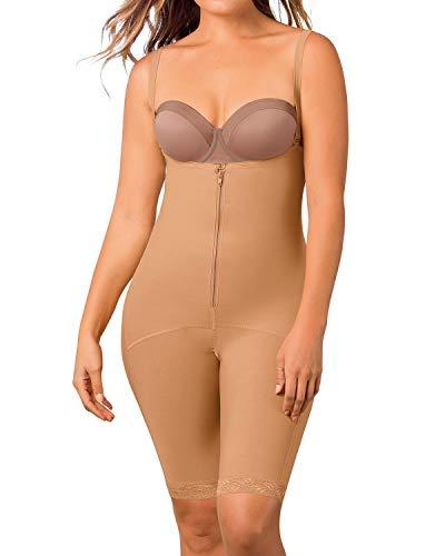 Leonisa Women's Mid-Thigh Firm Compression Body Shaper Slimming Shapewear Beige