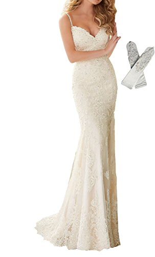 Mermaid V-neck Court Train - Datangep Women's Beaded Lace Applique Spaghetti Straps Empire Mermaid Beach Wedding Dress Size 2