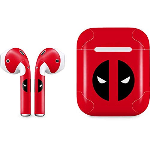 the best attitude 67ca4 479d0 Skinit Deadpool Logo Red Apple AirPods Skin - Officially Licensed  Marvel/Disney Audio Sticker - Thin, Case Decal Protective Wrap for Apple  AirPods Gen ...