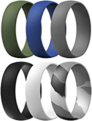 ThunderFit Silicone Rings, 7 Rings / 1 Ring Wedding Bands for Men & Women 6mm Wide - 1.65mm T