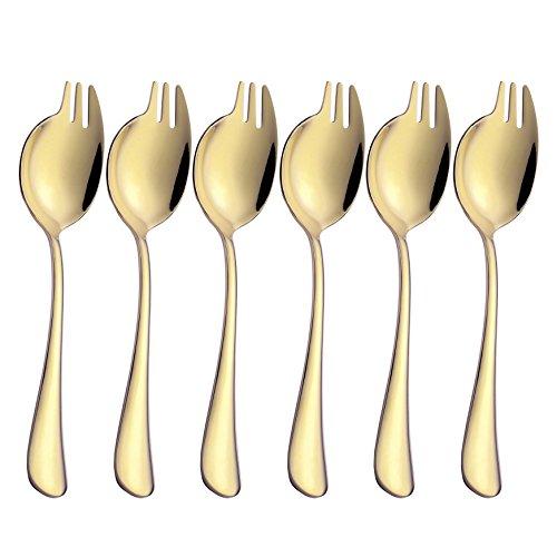 Sporks 6-pack Stainless Steel Gold Spork Long Handle for Fruit Appetizer Dessert Salad Forks Noodle Spoon Flatware Silverware Set, 7.6-inch