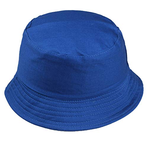 Toponly Unisex Fisherman Hat Outdoors Cotton Packable Fishing Hunting Summer Outdoors Wild Sun Protection Travel Bucket Cap Blue