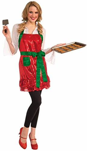 Forum Women's Sequin Christmas Kitchen Apron, Red/Green, One ()